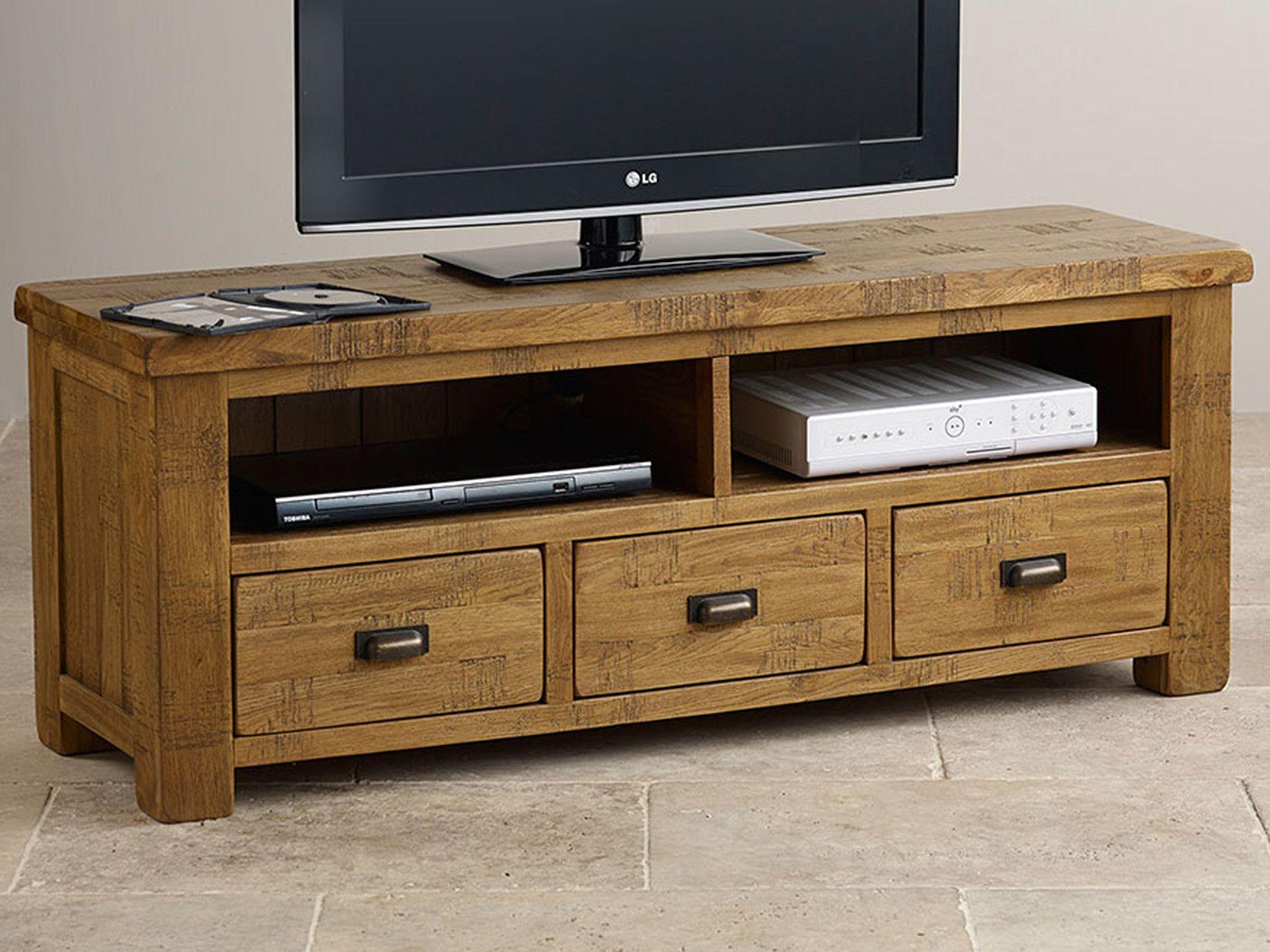 Ripley Rough Sawn Solid Oak Wide TV Unit | Living Room Furniture ...