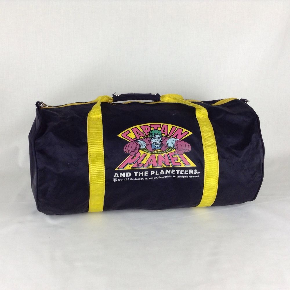 8fb3ff584fcb 1990 s Vintage Captain Planet And The Planeteers Duffle Gym Bag Cartoon