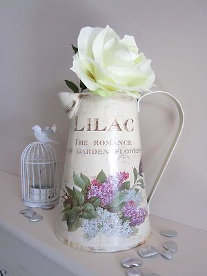 Cream FLORAL PITCHER JUG kitchen garden Decorative Shabby Chic | eBay