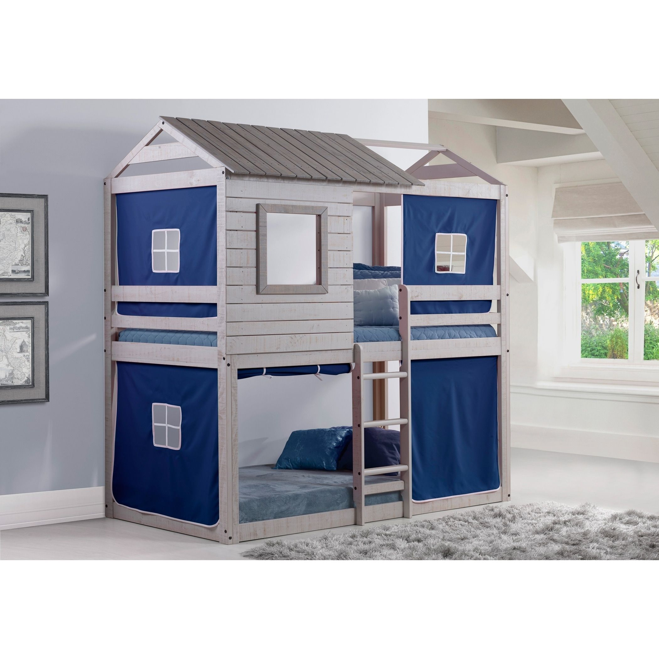 Loft bed ideas boys  Donco Kids Deer Blind Twin over Twin Bunk Loft with Tent in Light