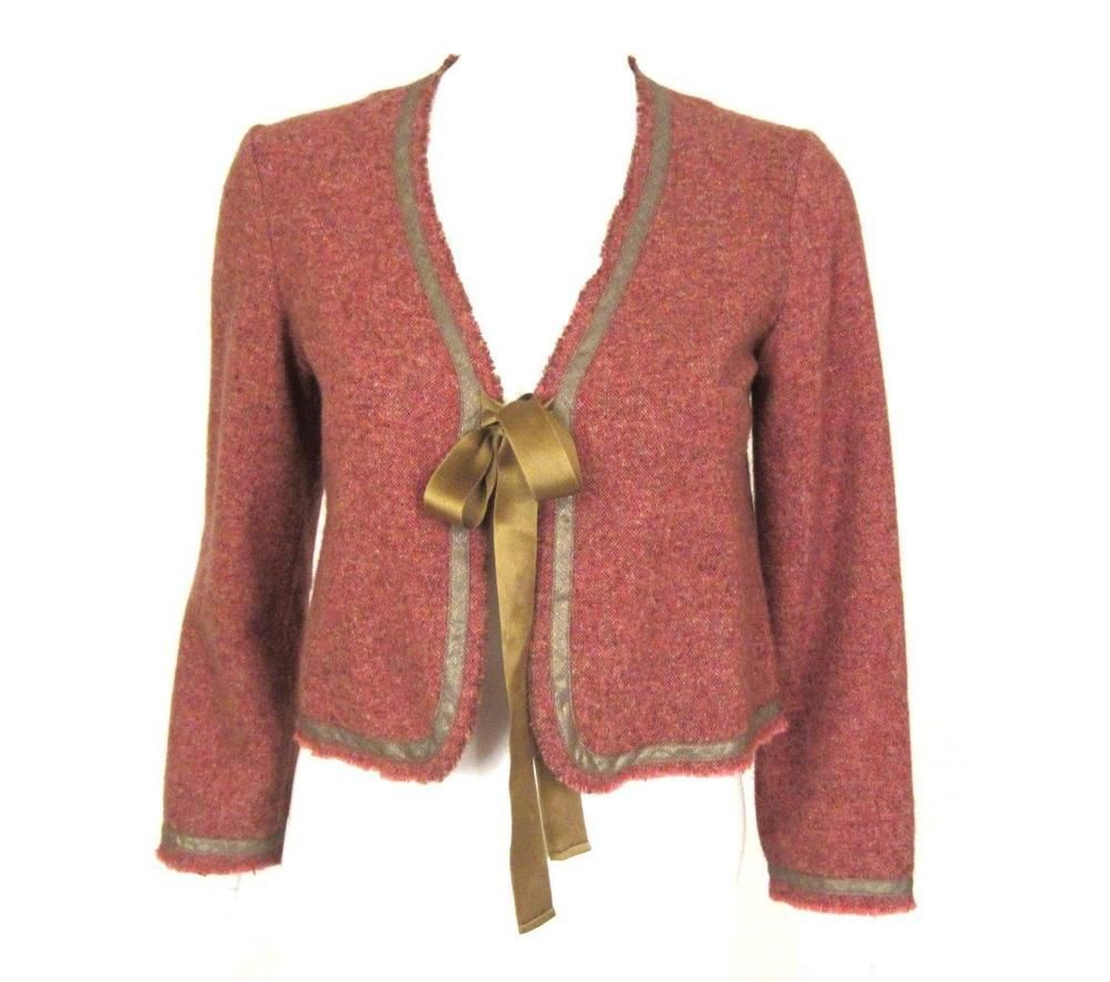 DOSA RUST RED TIE FRONT CROPPED CASHMERE CARDIGAN/JACKET SZ.3 ...