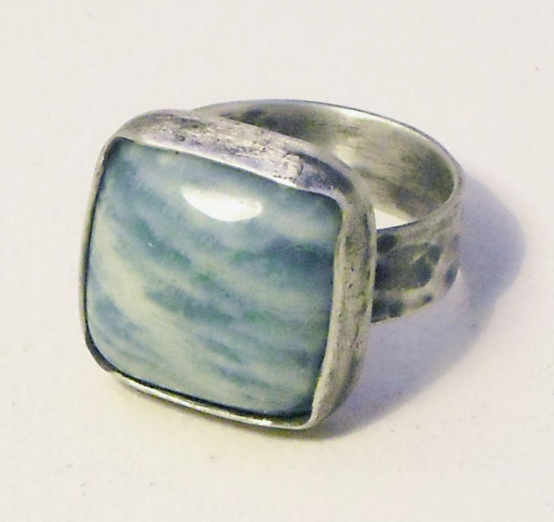 anillo plata envejecida y amazonita