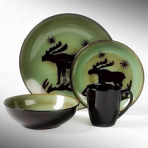 16pc Tabletops Gallery Wildlife Dinnerware Set Lodge Moose Cabin Northwoods NIB | eBay & 16pc tabletops gallery wildlife dinnerware set lodge moose cabin ...