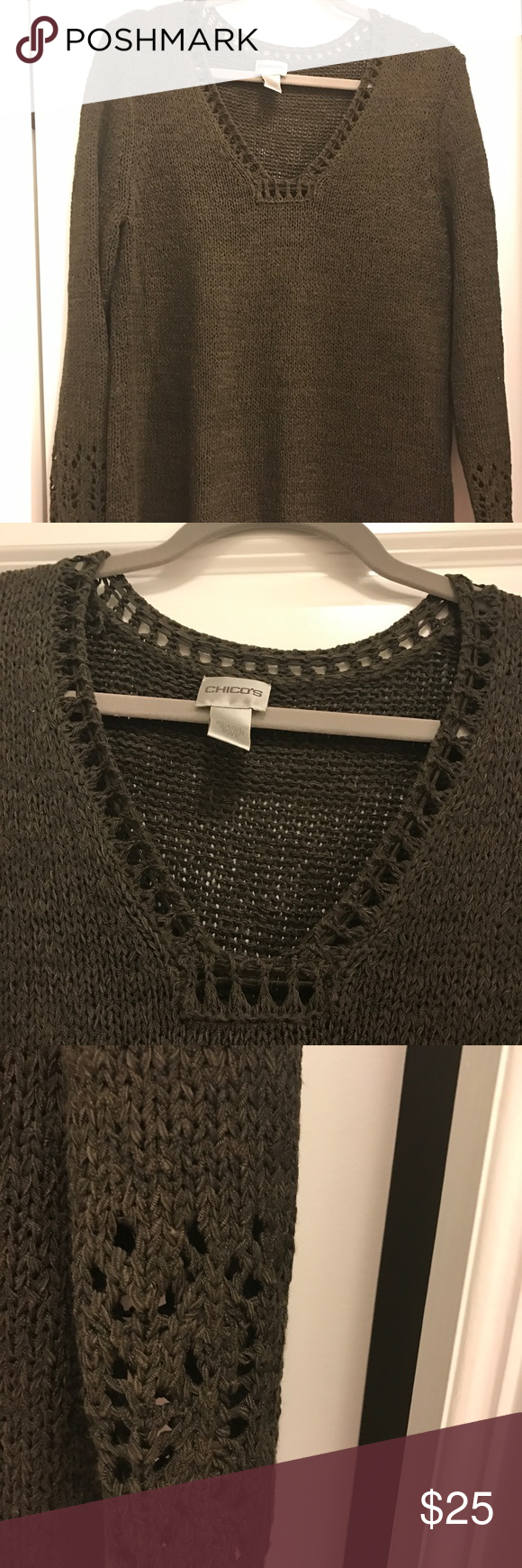 Chico's brown crochet sweater with sleeve detail | Beautiful ...