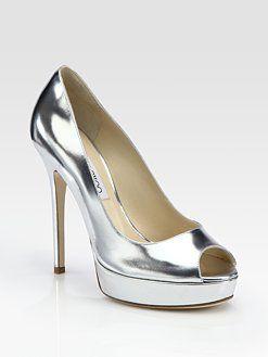 49bc0b12204 Jimmy Choo shoes. Jimmy Choo - Crown Metallic Patent Leather Peep Toe ...