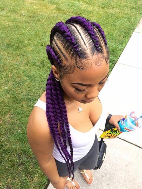 Purple   Braided hairstyles for black women cornrows ...