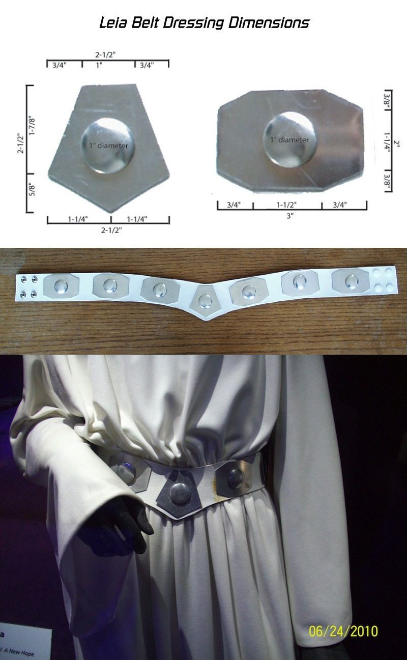 Princess Leia belt reference photos.  In the movie, there's actually an 8th medallion that is covering the snaps in the back of the belt, but that medallion was missing on the exhibit belt.  http://www.padawansguide.com/leia_anh_makingof.shtml