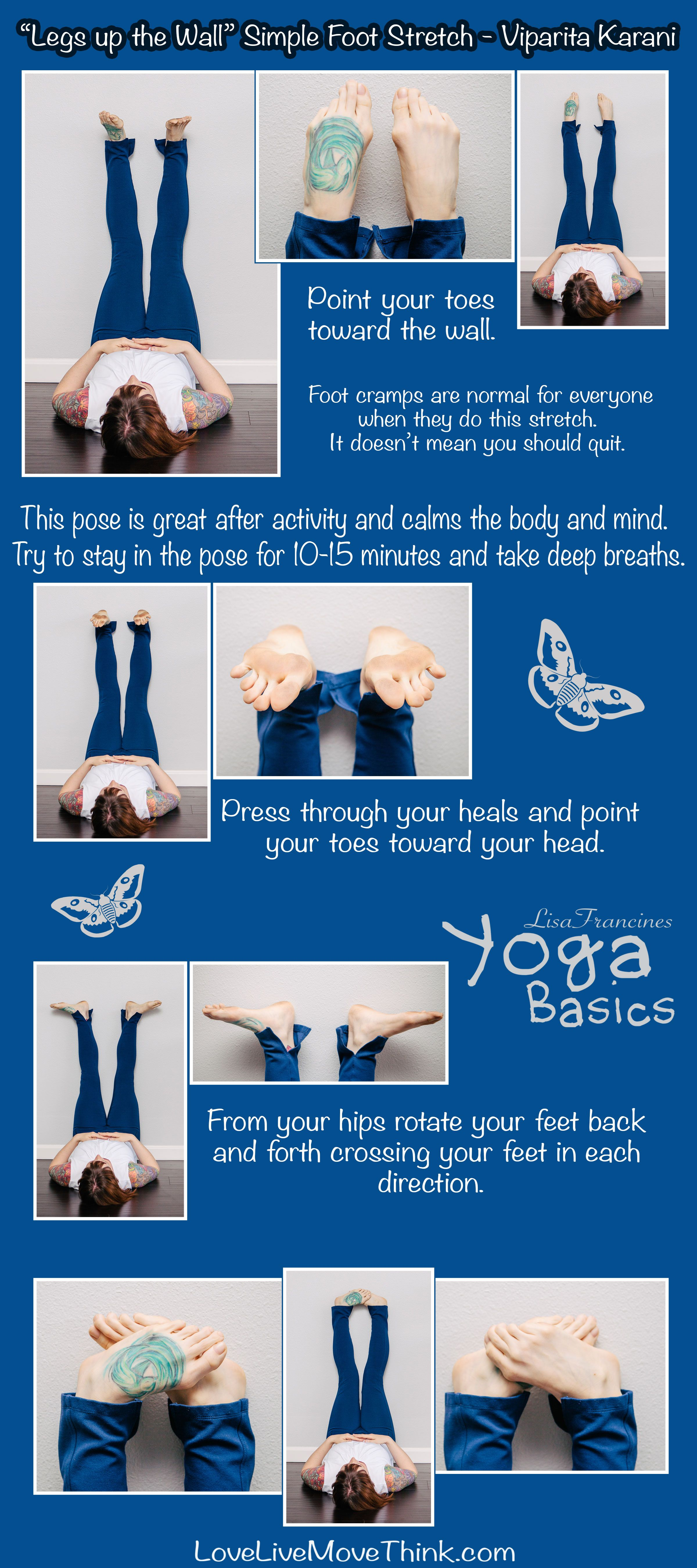 Legs up the Wall  Simple Foot Stretch   LoveLiveMoveThink   Yoga ...