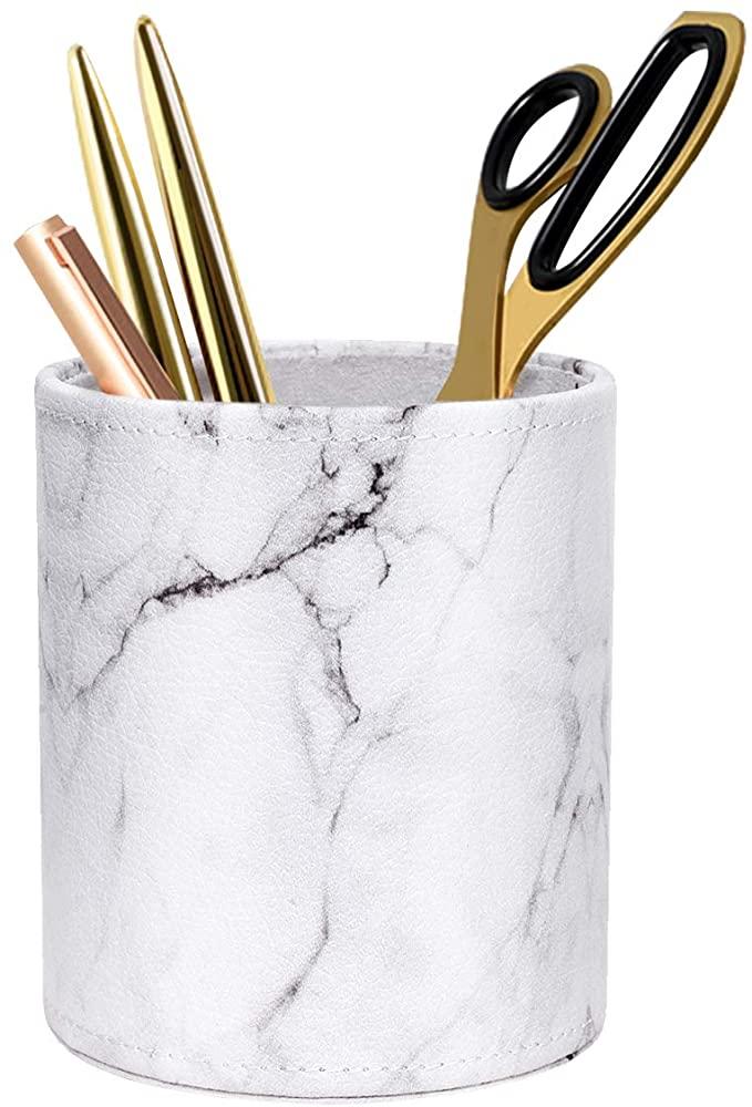 WAVEYU Pen Holder, Cup for Desk Marble