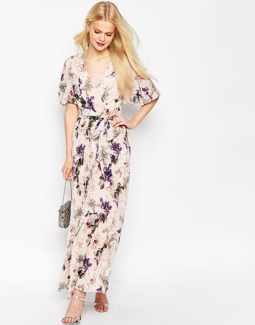Image 1 of asos pleated maxi dress in floral print for Print maxi dress for wedding