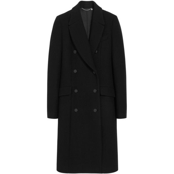 Perry Coat Black Classic Wool Coating (29.830 ARS) ❤ liked on Polyvore featuring outerwear, coats, longline coat, woolen coat, long coat, long woolen coats and double breasted long coat