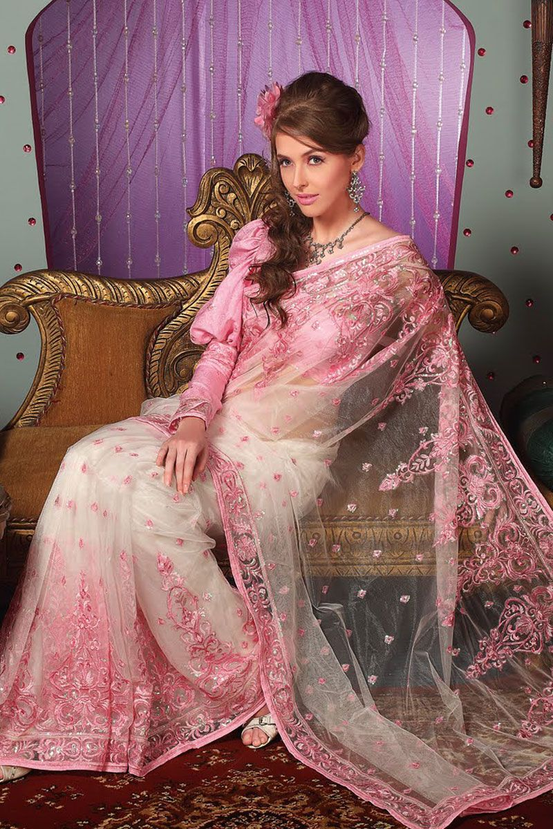44756b272 Latest Embroidered Saree in White and Salmon Pink Color ...