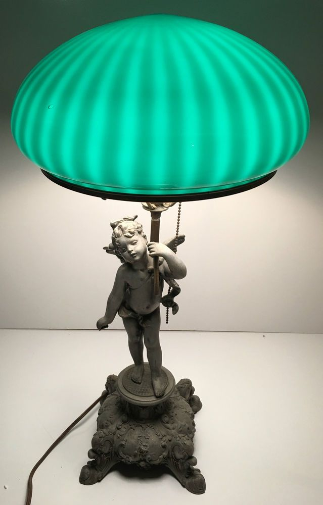 Antique Cast Iron Cherub Table Lamp Emerald Glass Globe Dome Shade Ornate  Figure