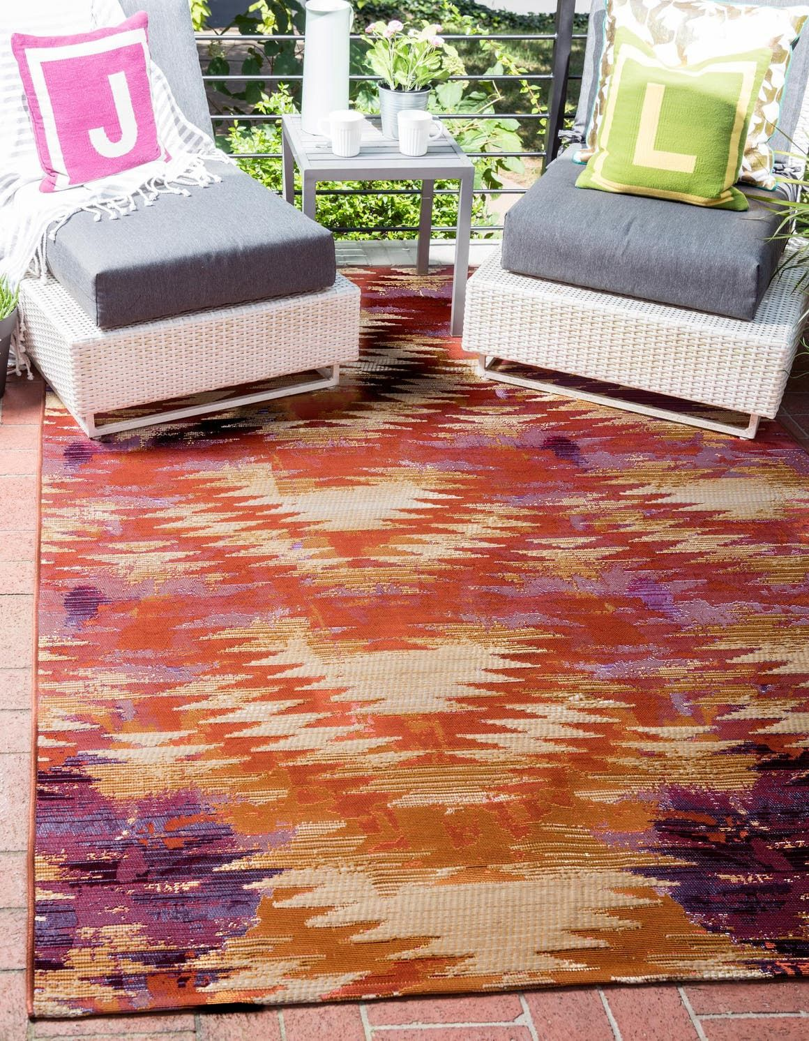 Red Outdoor Modern Area Rug In 2020