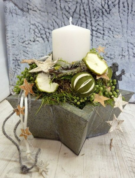 Gr N Mit 1 Kerze In Schale Advent Pinterest Box