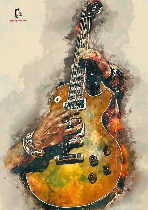 Slash's electric guitar 12x16 guitar art, music wall art, music poster, music room decor, hand painted guitar, guitar gifts, music gift #vintageguitars