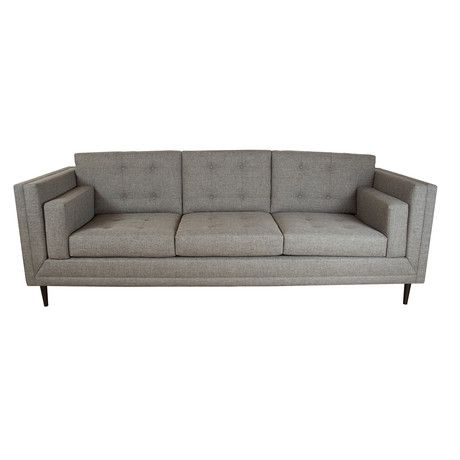 Davis Gray Sofa by Madera Home - A sleek mid-century three-seater sofa, elegant in buttoned heathered gray with round tapered legs. $3900