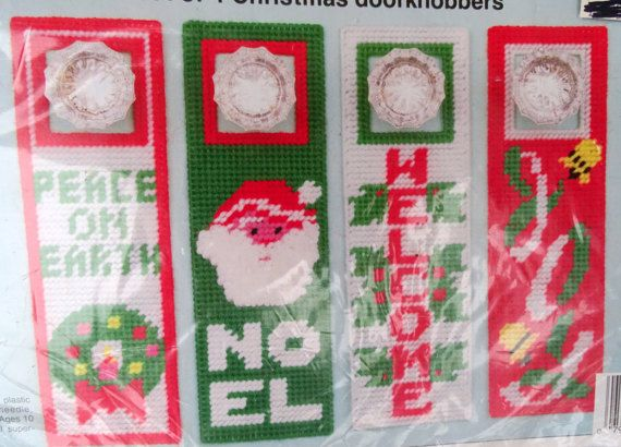 Love N Stitches Plastic Canvas Kit Christmas Door Knobbers Set Of 4