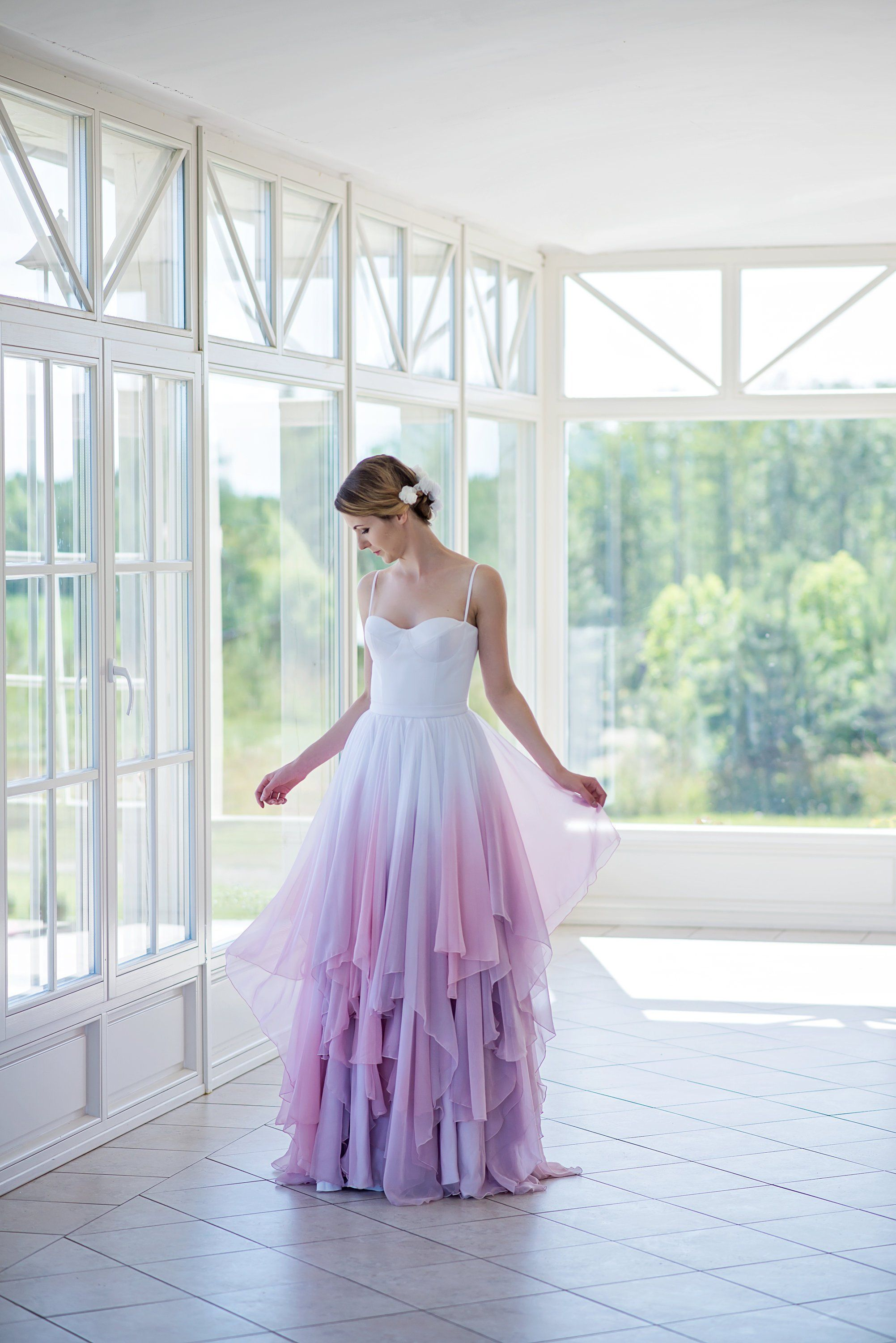 Ombre Wedding Dress Flowing Chiffon Bridal Gown Colorful Etsy