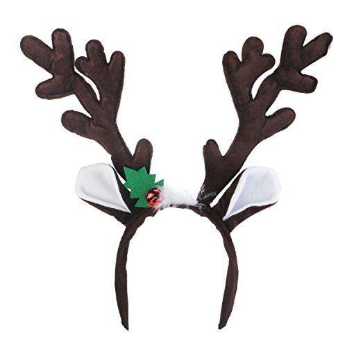 con orejas de reno con cuernos de ciervo y campanas Diadema de cuernos de reno para fiesta de Navidad y Pascua