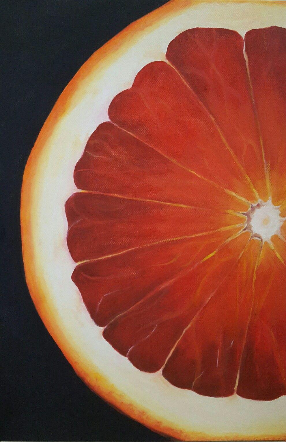 'Blood Orange' (2017) original oil painting on stretched canvas, 31cm w x 46cm h x 4cm d. Edge painted black.