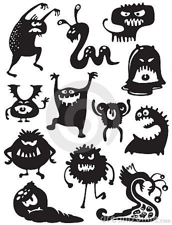 funny monster silhouettes