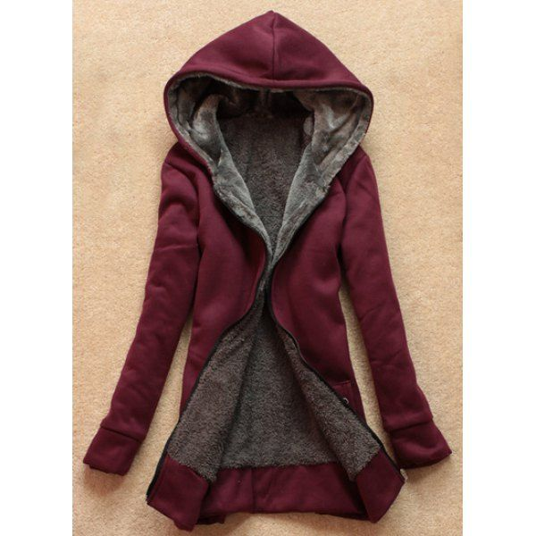 Long Sleeves Solid Color Flocking Stylish Hooded Hoodie For Women