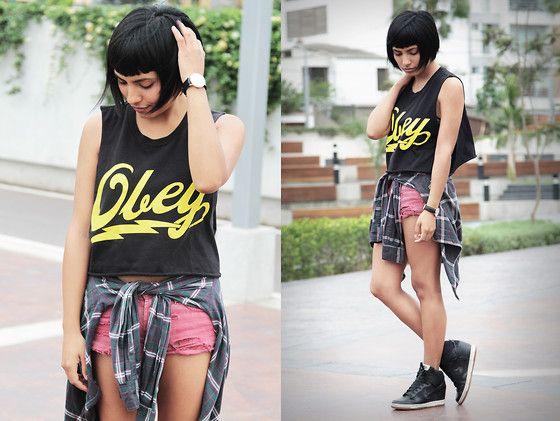 Obey Top, Forever 21 Shirt, Nike Shoes, Daniel Wellington Watch