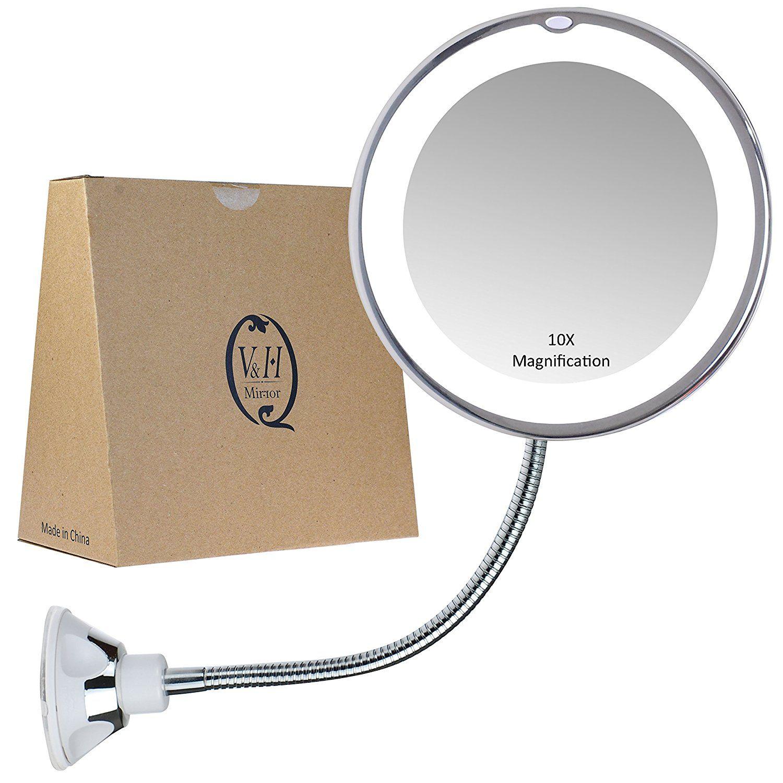 Amazon Miroir Grossissant col de cygne miroir grossissant avec lumière, 10 x grossissement, de