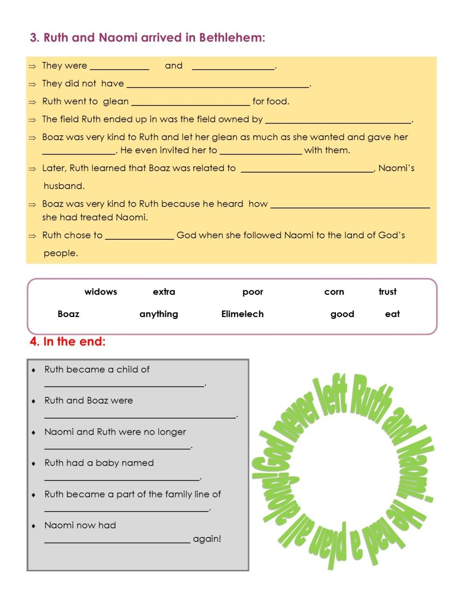 7th Day Remnant Kids Ruth Boaz Worksheet Please Print Before Class Ruth Ruth And Naomi Boaz