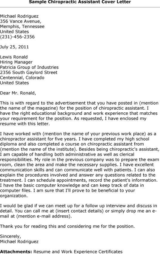 What is and How to make Cover letter for Chiropractic Assistant ...