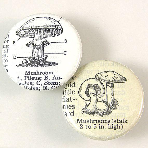 Mushroom Pinback Button Set by XOHandworks $3