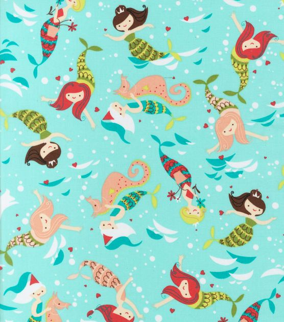 Cute Under the sea MERMAIDS Fabric by the Yard kids by ByTheYard4U, $13.50