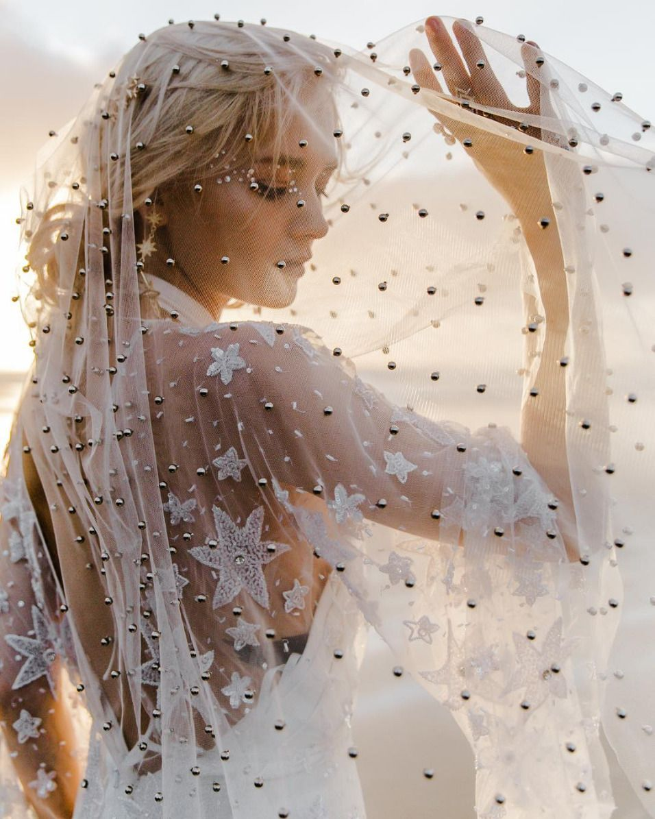 Gorgeous wedding veil with embroidered stars and pearl applique