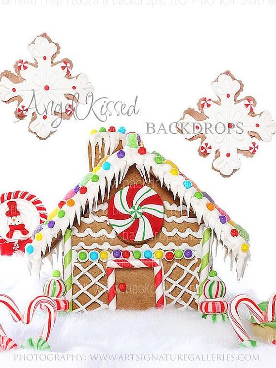 Gingerbread House Photography Backdrop Candy Land Candyland Snowflakes Snow Christmas 60x80 Fleece Vertical Backdrops Christmas Backdrops Gingerbread House
