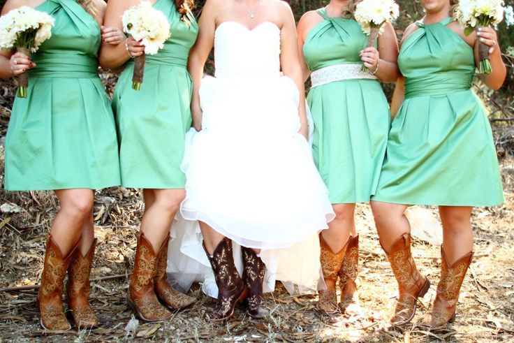 Short bridesmaid dresses with cowboy boots green for Short wedding dress with cowboy boots