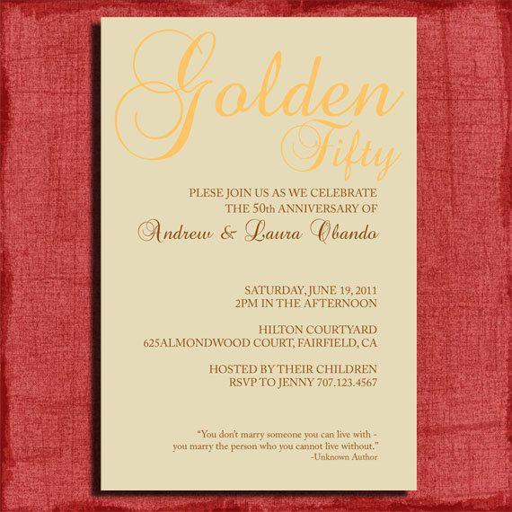 Printable 25th Or 50th Wedding Anniversary Invitation W Quote 4x6 Invitation DIY