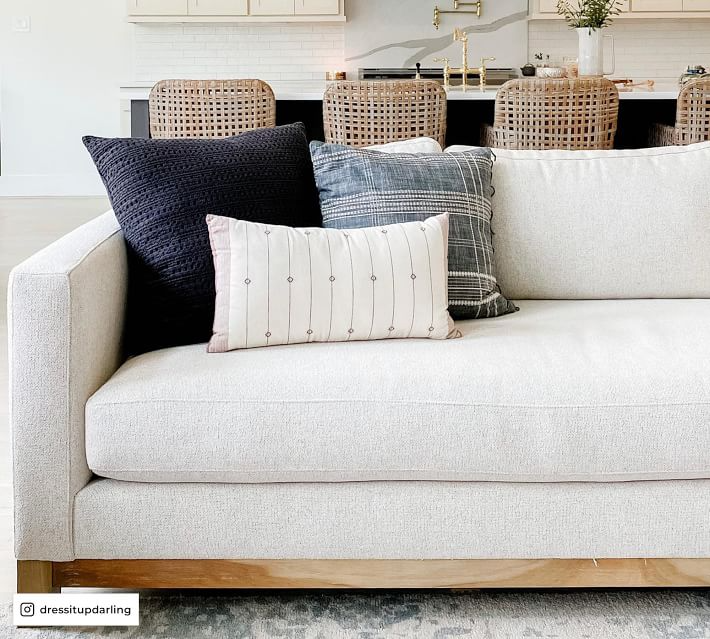 Jake Upholstered Sofa with Wood Base in 2021   Upholstered sofa, Top quality sofas, Pottery barn ...