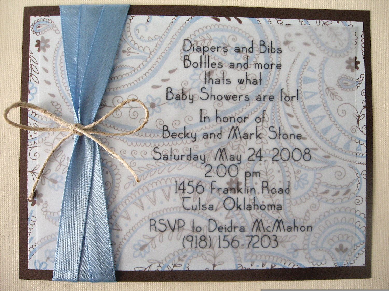Blue And Chocolate Brown Paisley Baby Boy Baby Shower Invitation - Homemade baby shower invitation ideas