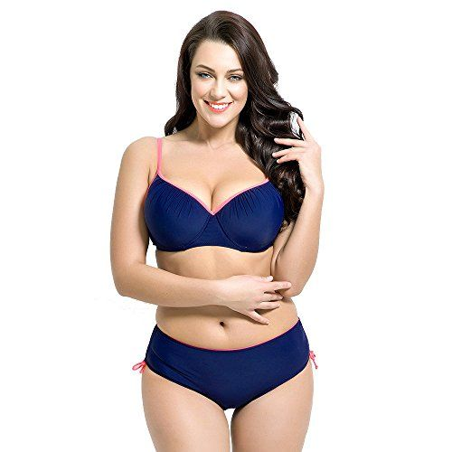 da1a218ae756d Runbox Womens Plus Size Pleated Push up Twopiece Swimsuit Swimwear Bikini  Set 3XLUS18W20W Navy Blue