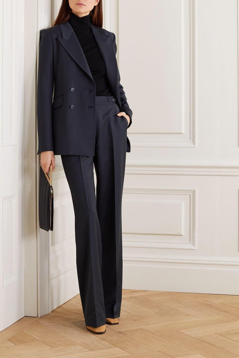 Angela double-breasted wool-blend blazer