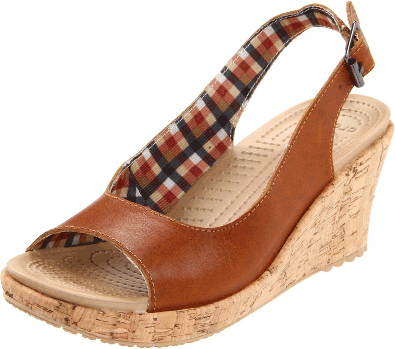 Amazon.com: crocs Women's A-Leigh Leather Slingback Wedge: Shoes
