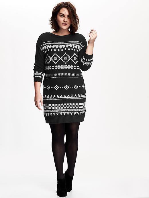Womens Plus Fair Isle Sweater Dress in 2x   My Style   Pinterest