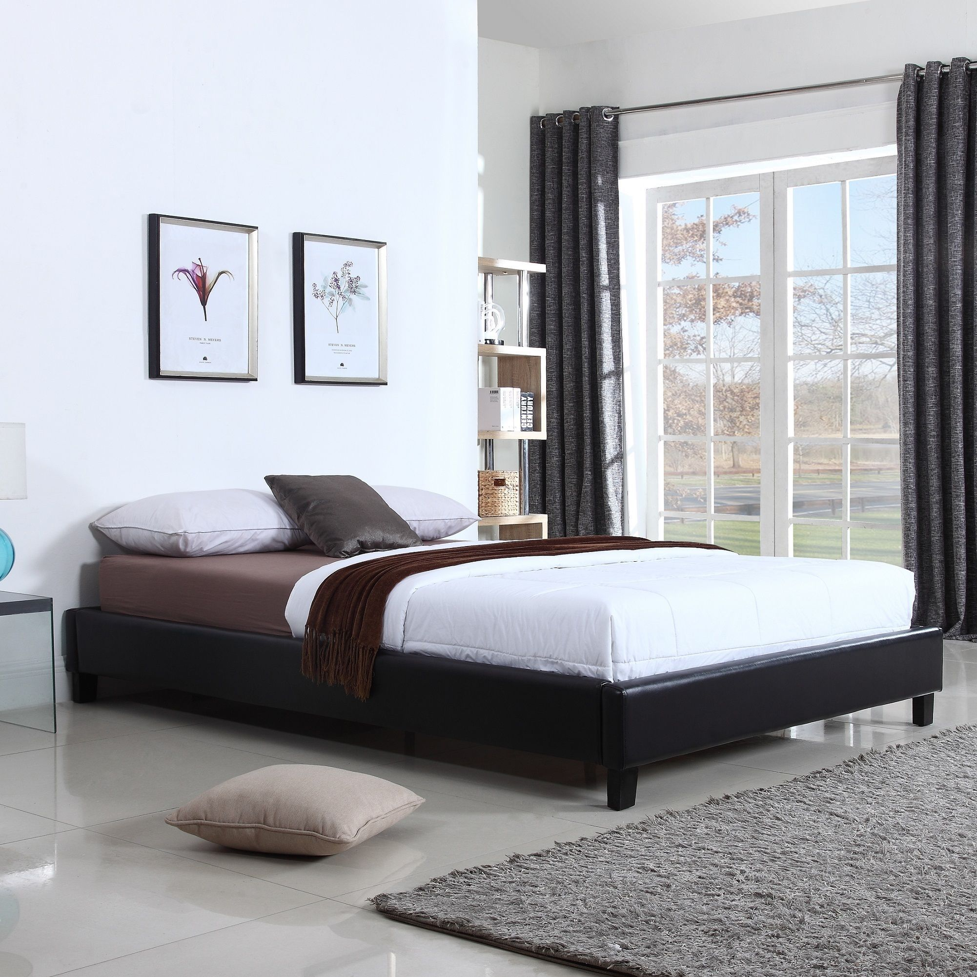 Hadwen Black Faux Leather Full/Queen Bed Leather bed