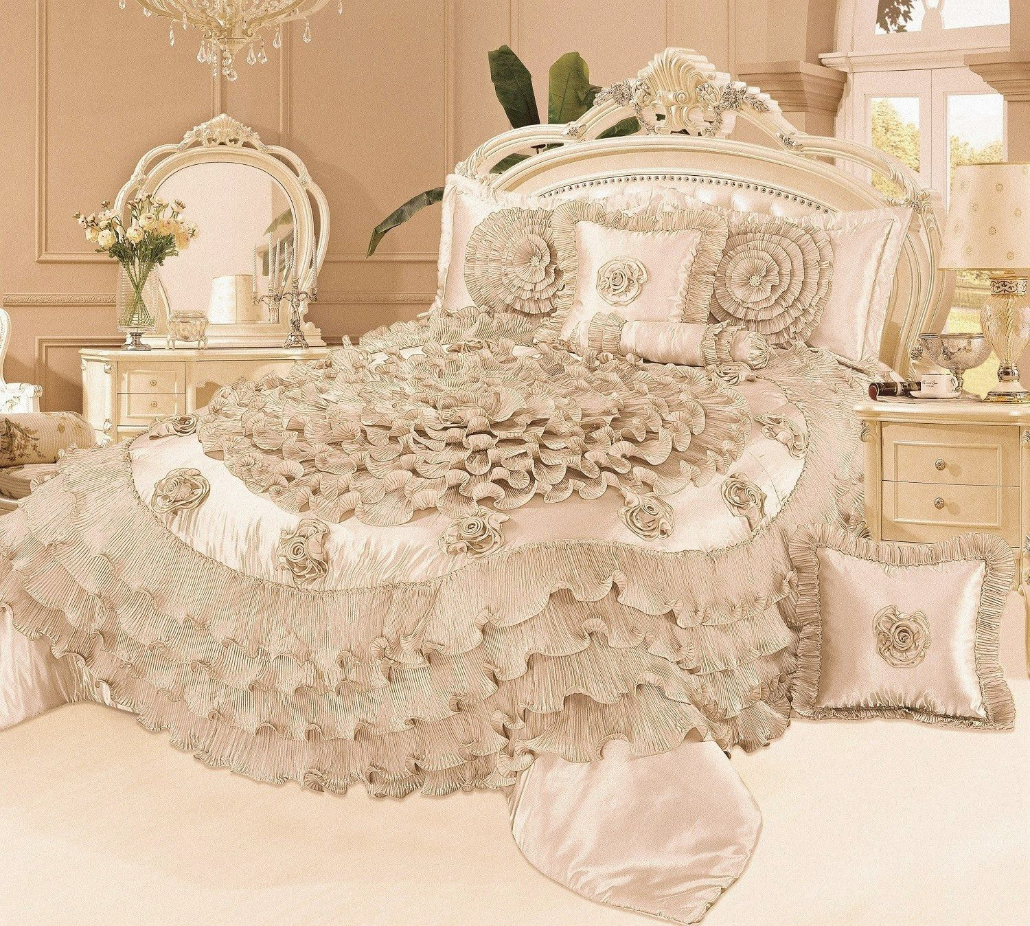 Tache Luxury Floral Satin Ruffle Frosted Field Beige Comforter Set