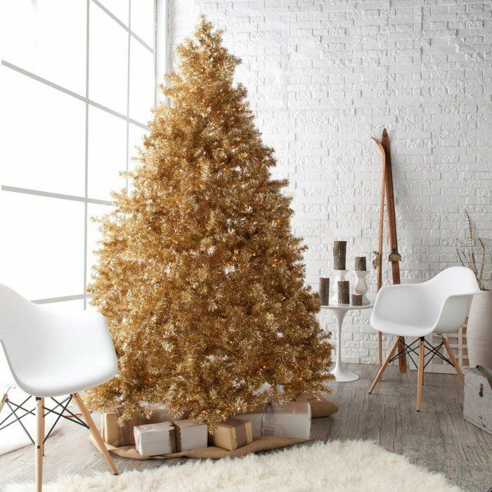 wohnzimmer gestalten weihnachten ausgefallener weihnachtsbaum - wohnzimmer gestalten orange