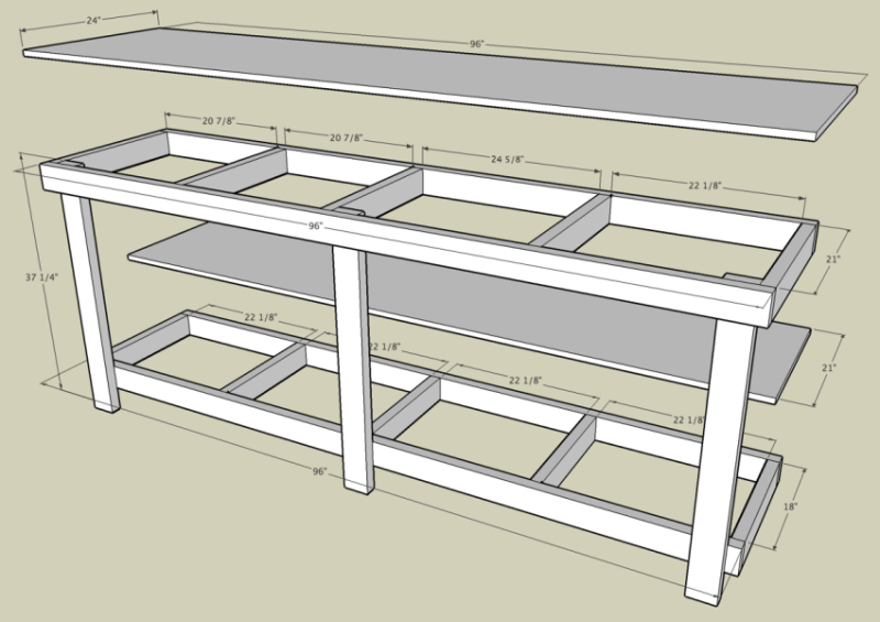garage work bench with measurements by http www