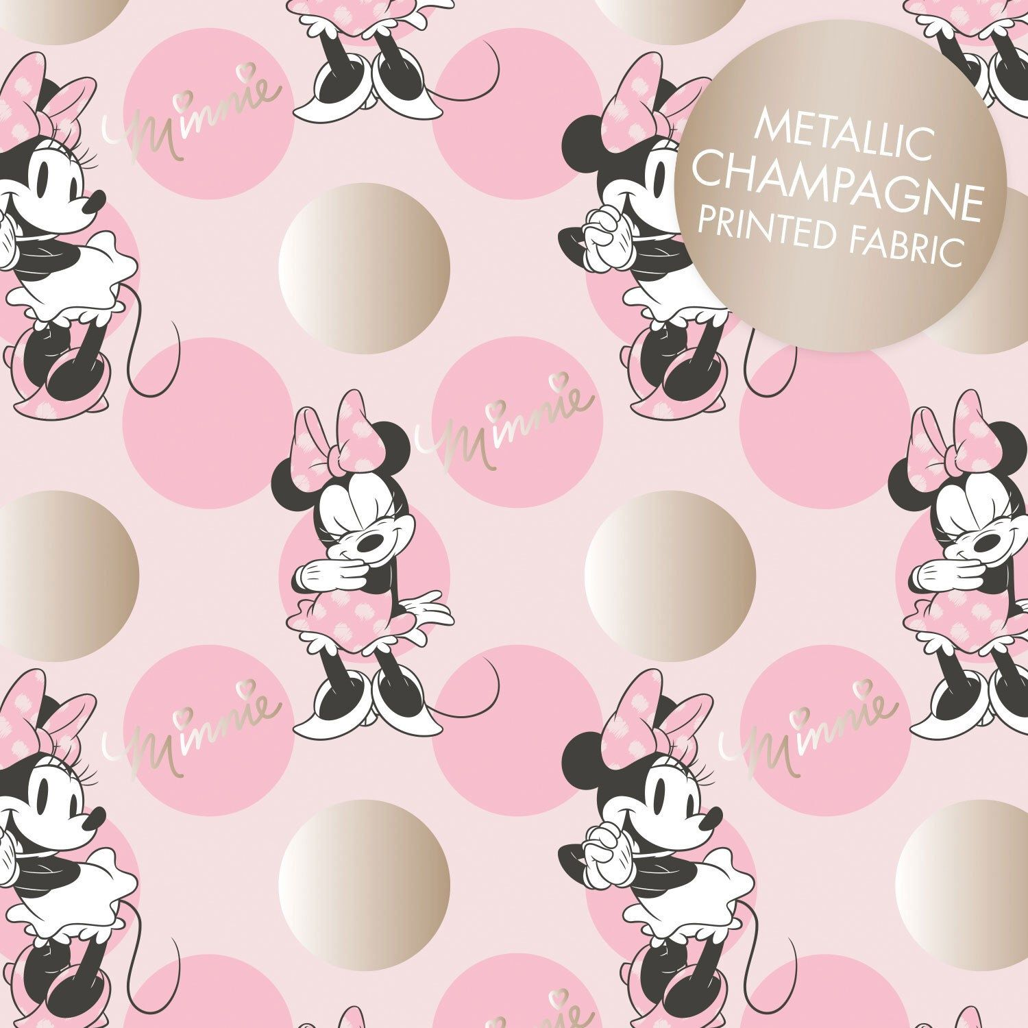 Metallic Pink Minnie Mouse fabric Minnie mouse fabric
