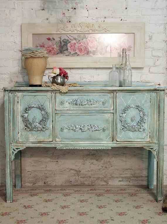 Shabby French Buffet Table In Beautiful Vintage Aqua Blue. Great Item For  Room Redecorating Project Or Prop At Wedding/shower.