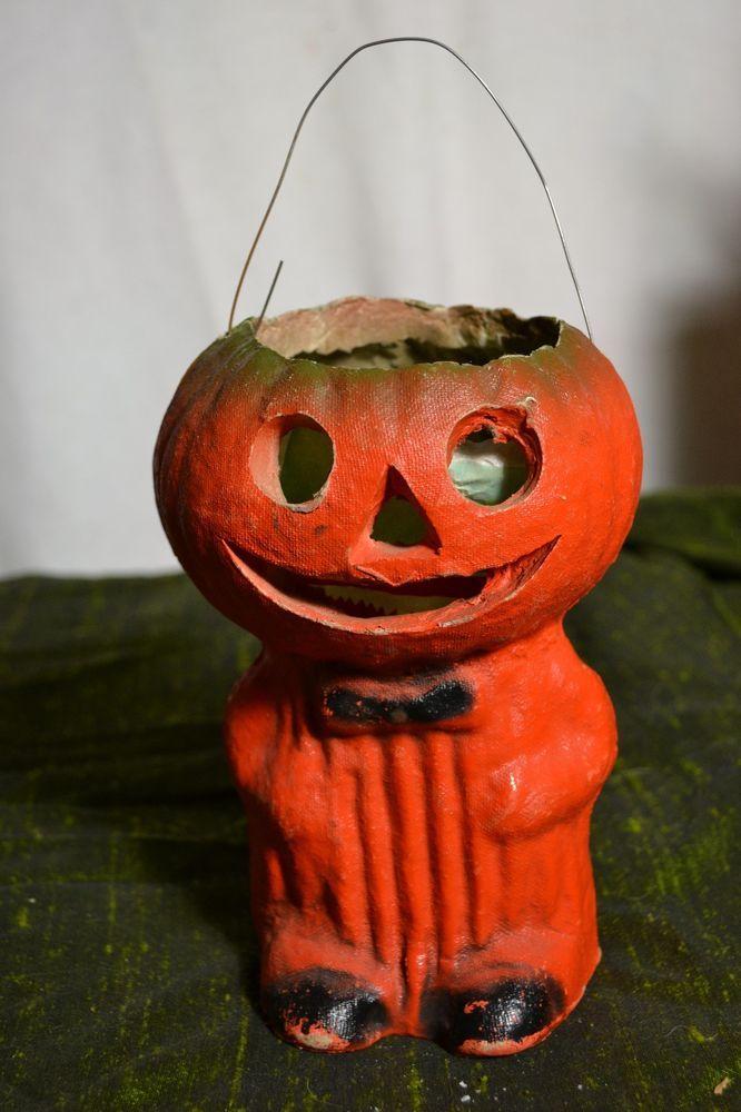 Vintage Halloween Paper Mache Pulp Pumpkin Head Lantern Candy Container Vintage Halloween Halloween Paper Retro Halloween